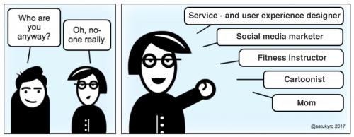 Cartoon introducing Satu Kyröläinen