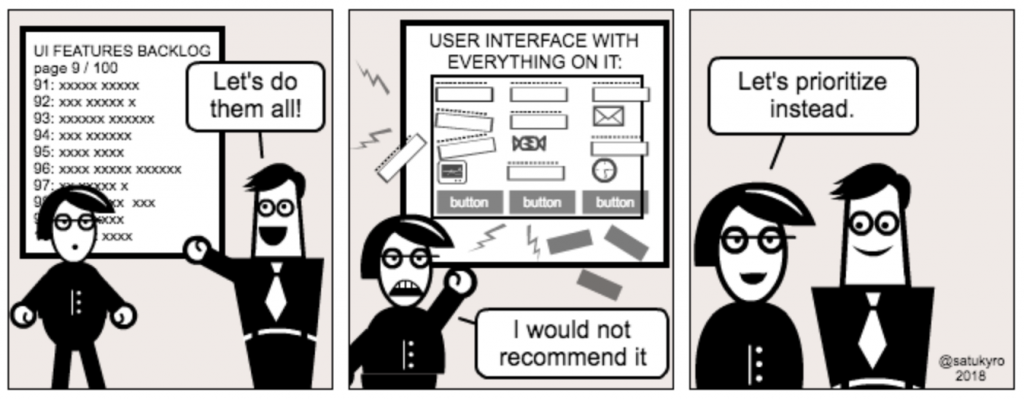Cartoon illustrating the importance of prioritizing features