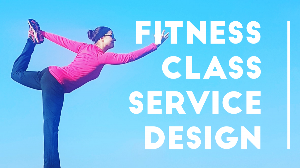 Fitness class service design -title image with a woman in a yoga-pose
