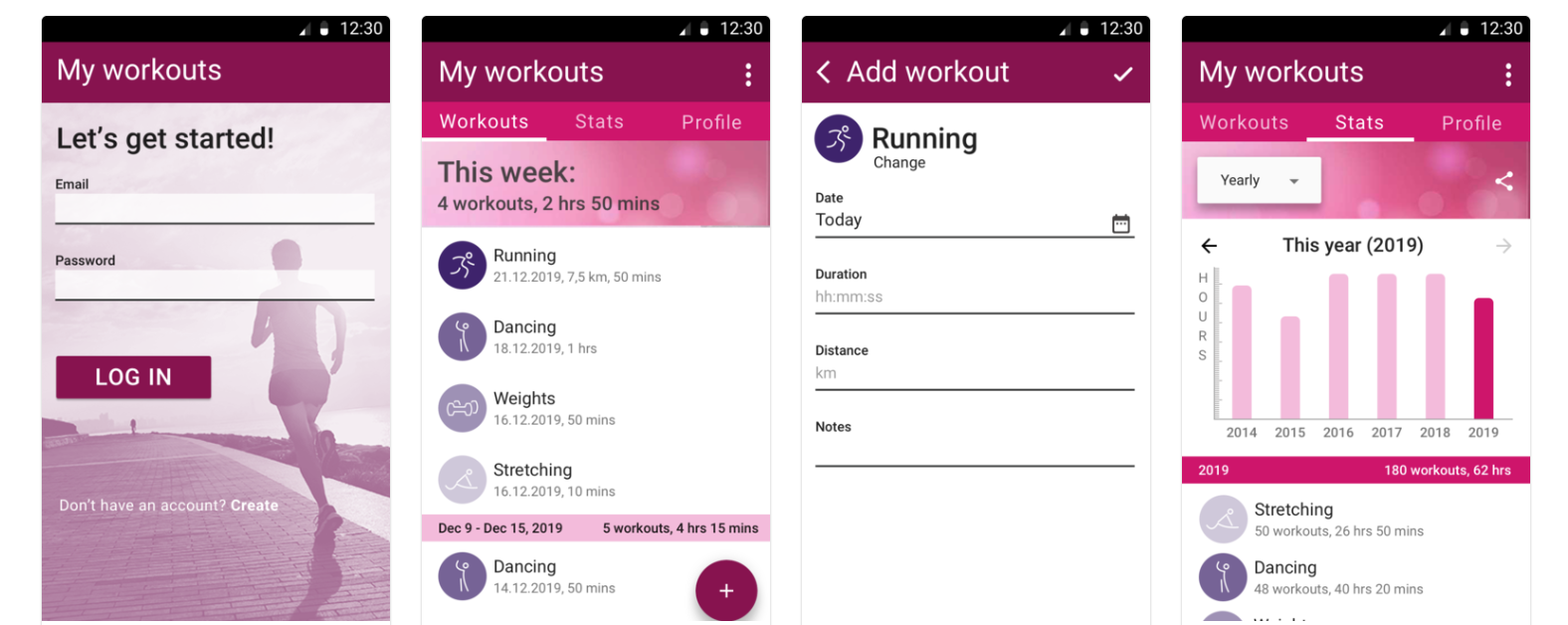 Realistic mockups of My Workouts app