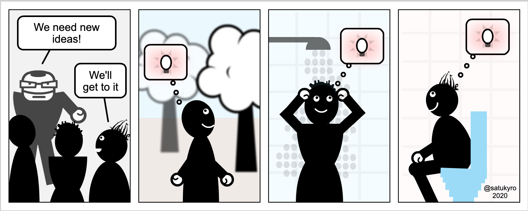Cartoon about generating ideas